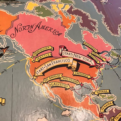 Vintage 40s Cargoes Game Board, Tri-Fold Board, Stylish World Map, Room Decor