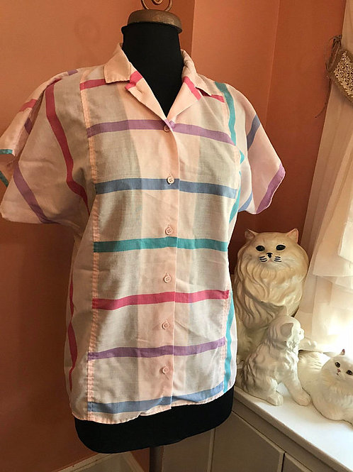 Vintage Blouse, 80s Cotton Top, Roller Skate, Secretary Shirt, Ice Cream Parlor