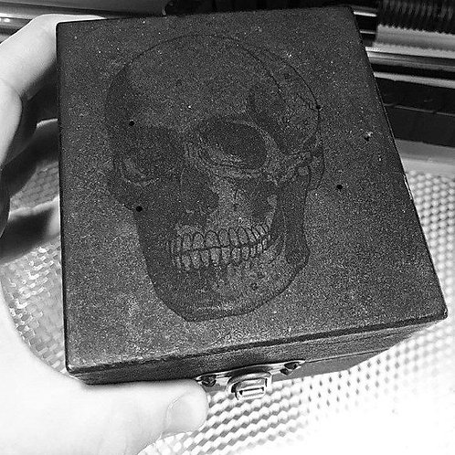 Black Metal Box, Vintage Skull Box, Laser Etched Skull, Jewely Box, Trinket Box