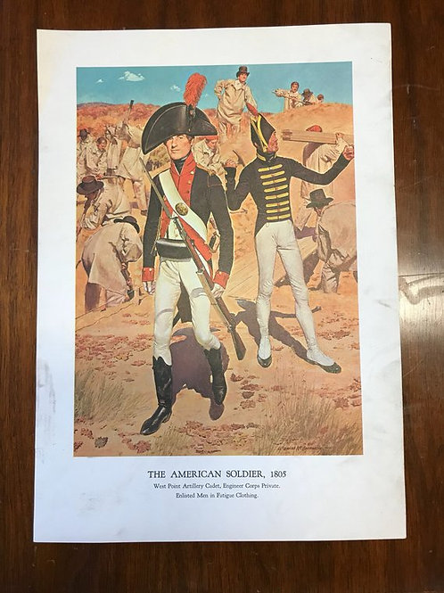 Vintage Print, Military Art, 1966, The American Soldier,1805