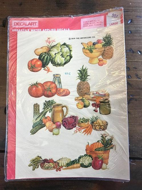 Vintage 1979 Decalart, Kitchen, Vegetables, Cornucopia, Fruit, Cannister Set