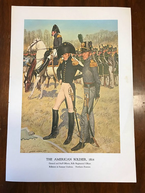Vintage Print, Military Art, 1966, The American Soldier,1814