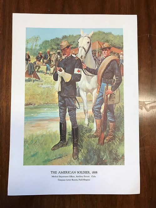 Vintage Print, Military Art, 1966, The American Soldier,1898