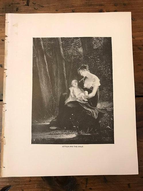 Antique Print, Typogravure, Breastfeeding, Ottilia and Child, Goethe