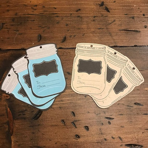 Mason Jar Gift Tags, Blue Mason Jar, Beige Mason Jar, Birthday Gift Supply