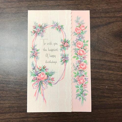 Vintage Card, Happy Birthday Wishes, Pink Roses, Purple Flowers