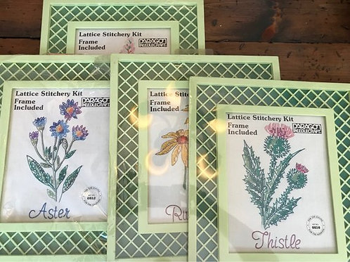 Vintage Needlecraft Kit, Paragon Embroidery Kit, Lattice Frame, Wild Flowers