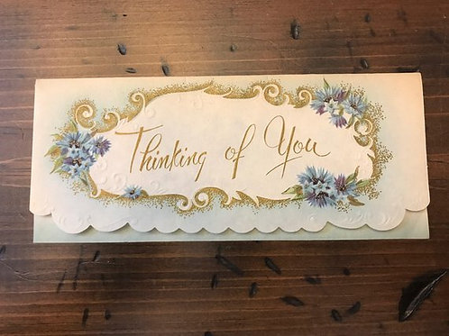 Thank You Card, Vintage 50s Card, Forget Me Not, Thinking of You