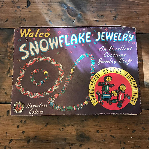 Vintage Bead Jewelry Kit, Snowflake Beads by Walco from 1942