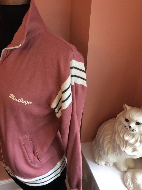 80s Track Jacket, MacGregor Zipper Sweatshirt, Vintage Mauve, Pink