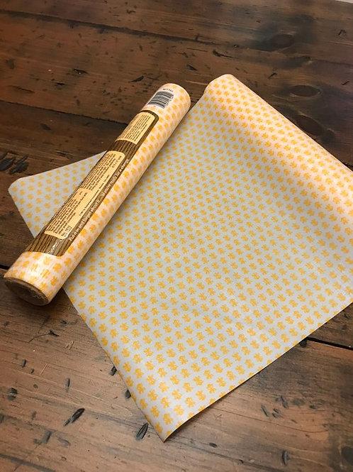 80s Liner, Yellow Shelf Liner, Tack Back Adhesive, Yellow Geometric Flower