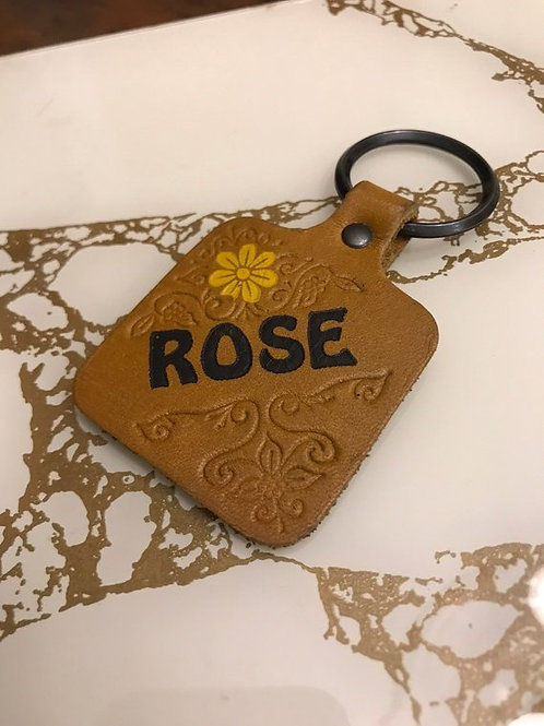 """Personalized Keychain, """"ROSE"""" Vintage 70s, Hippie, Yellow Flower Key Ring"""