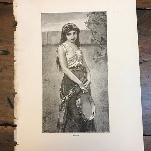 Antique Print, Goethes, Tragic Art, Wilhelm Meister, Gypsy GirlDancer, Mignon