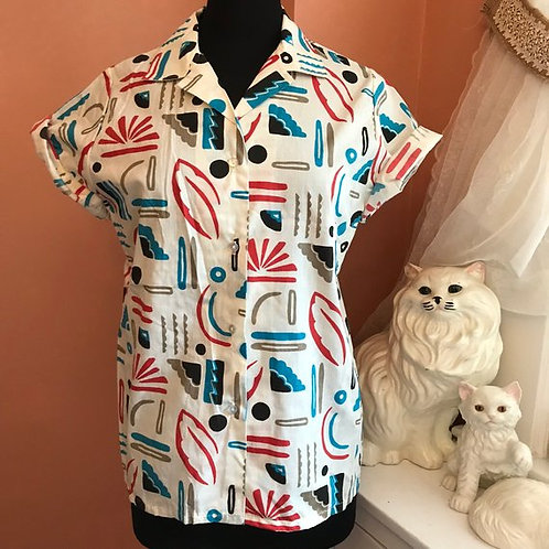 Vintage Blouse, 80s Cotton Top, Roller Skate, Saved By the Bell, AC Slater