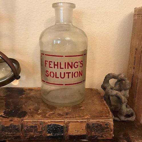 Etched Glass Pyrex Bottle, Fehling's Solution, Old Poison, Medical, Laboratory