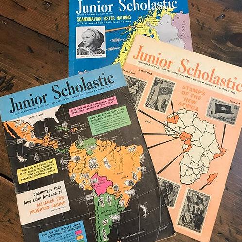 Vintage 60s, Vintage Magazine, Junior Scholastic, Scandinavian, Stamps