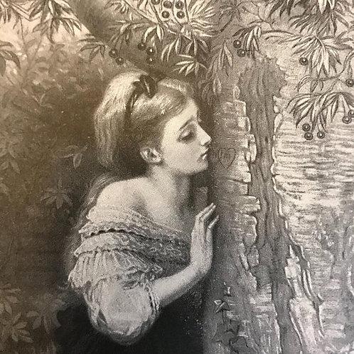 Antique Print, Litho, Olivia, Tennyson's The Talking Oak, Romance Poetry