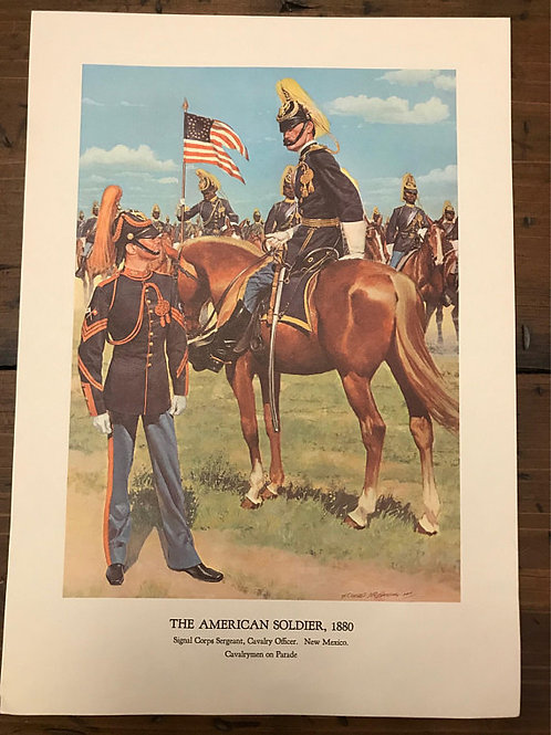 Vintage Print, Military Art, 1966, The American Soldier,1880