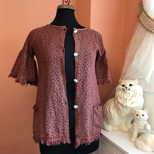 Vintage Boho, Mauve Crochet, Vintage Blouse, 70s Blouse, Fringe, Bell Sleeve