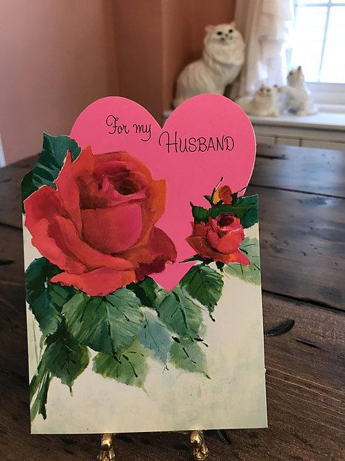 Vintage Card, Greeting Cards, Valentines Card, Husband, Flowers, Roses