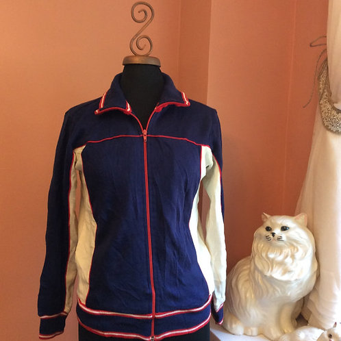 Vintage Track Jacket, Red White Blue, Zip Up Sweatshirt