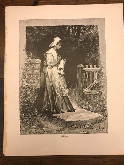Antique Print, Litho, Priscilla, The Courtship of Miles Standish, Longfellow