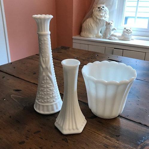 Vintage Milk Glass, Vase, Flower Pot, Fluted, Hobnail, Cut Crystal, Vintage Deco