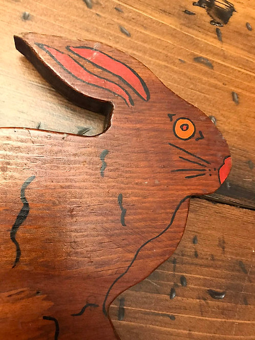 Creepy Bunny Folkart, Handmade Wood Bunny Plaque, Country Rabbit, Watership Down