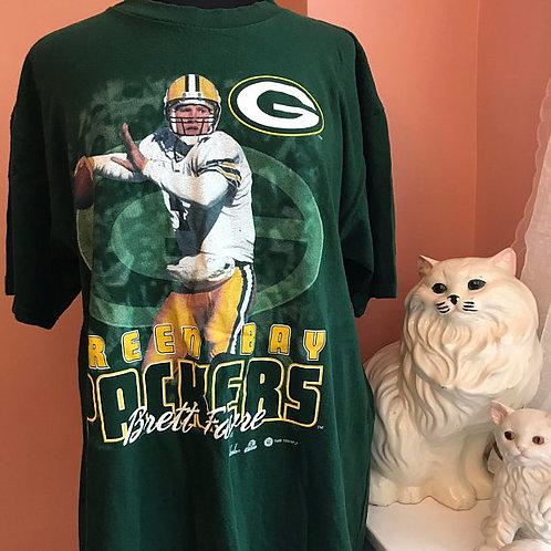 Vintage Tshirt, 90s T-Shirt, NFL, Brett Favre, Green Bay Packers
