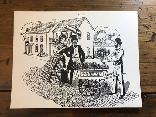 Coloring Page, Victorian Flower Street Vendor, Tea Party Activity, Bridal Shower
