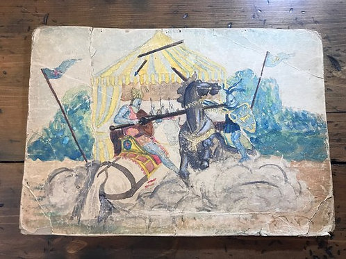 Vintage Watercolor, Medieval Joust, Tournament, Knights of the Round Table