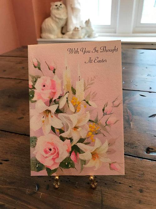 Vintage Card, Easter Card, Easter Basket, Lillies, Easter Bunny
