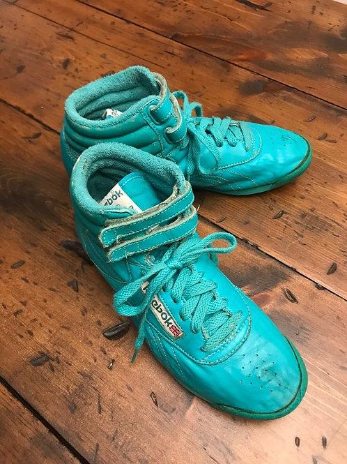 80s Reebok Sneakers, Hightop Vintage 80s, Teal Reebok, Size 6, 6.5, 7
