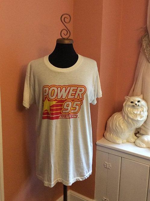 Vintage Tshirt, 80s T-Shirt, Radio Station T-shirt, Power 95 New York and NJ