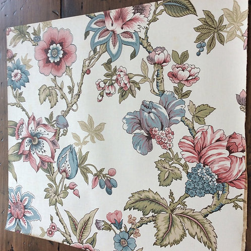 "Vintage 1977 Wallpaper Sample - 17""x15"" - Green, Blue, Pink Flowers"