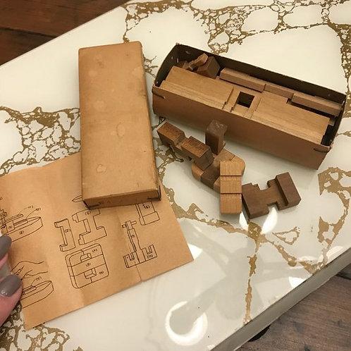 Vintage Wooden Puzzle, Japanese Block Puzzle, Ship, Brain Teaser, Mind Games