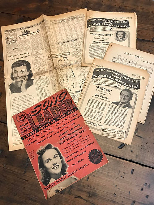 1940s Sheet Music, Vintage Music, Newspaper NY American Journal, Big Band, Swing