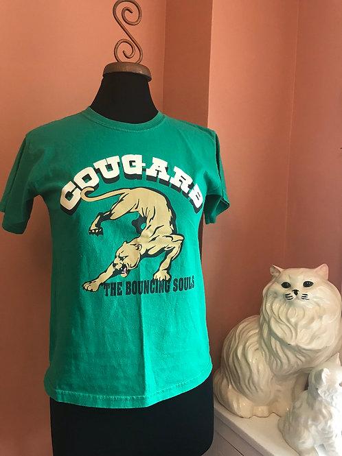 Rare Bouncing Souls Tshirt, Green Sport Team, Cougars, Punk Tshirt, NJ Punk Rock
