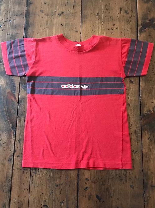 Vintage 80s, Adidas, Retro Adidas Tshirt, Striped Adidas, Red Striped Shirt