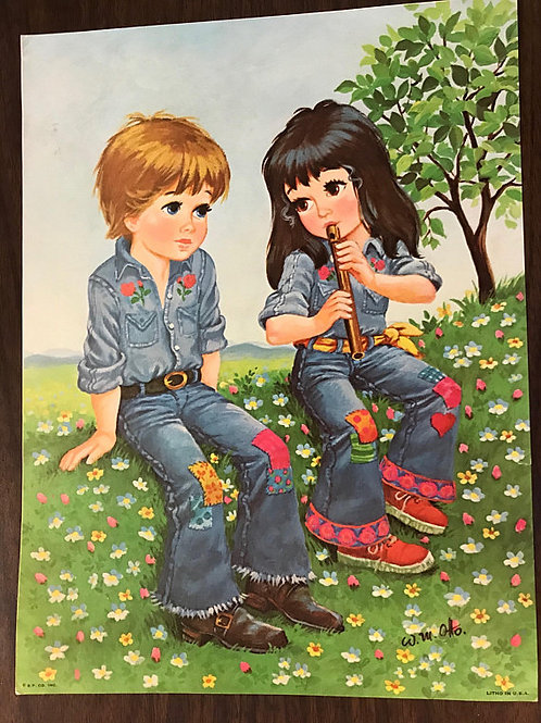Vintage Print, W.M. OTTO, Boy and Girl, Hippie Flowers, Children in Love