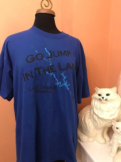 Vintage Tshirt, 90s T-Shirt, Go Jump in the Lake, Lake Oconee, Georgia, Tourist