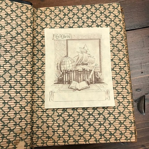 Ex Libris, Pirate Ship, Globe, Bookshelf, Vintage Unused Bookplates by Antioch