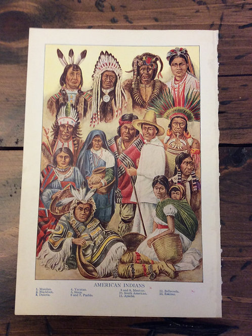 Antique Print, Native American Print, Plains Indians, Navajo, Hopi, Cheroke