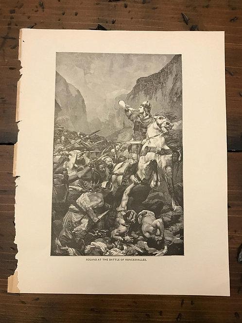 Antique Print,  Roland, Son of Charlemagne, Pulci's Morgante Maggiore