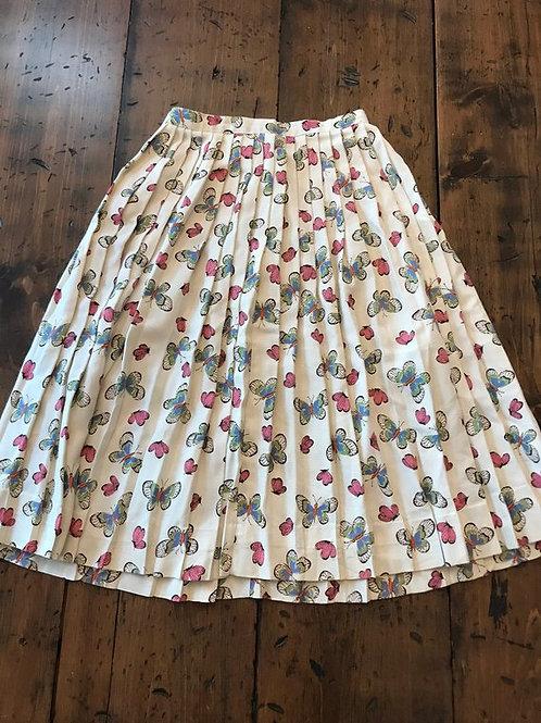 Vintage 50s Skirt, 50s Circle Skirt, OOAK, Pleated Butterfly Novelty Skirt