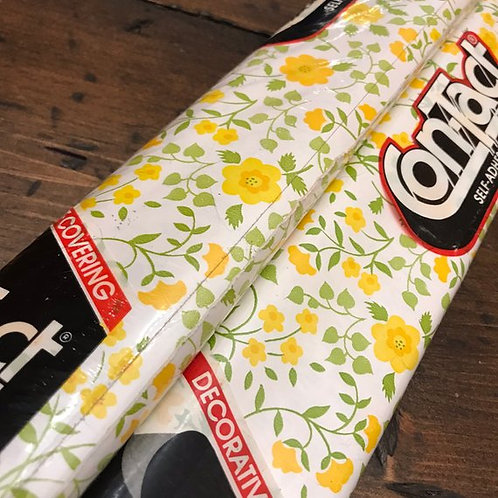Vintage 80s Contact Paper Roll, Shelf Liner, Drawer Liner, Yellow Flowers