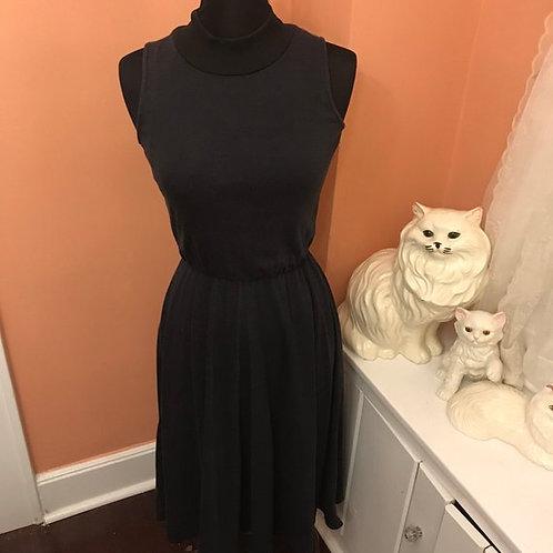 Vintage 80s Dress, Halter Turtleneck Jersey Dress, Casual Sporty Dress, GOTH