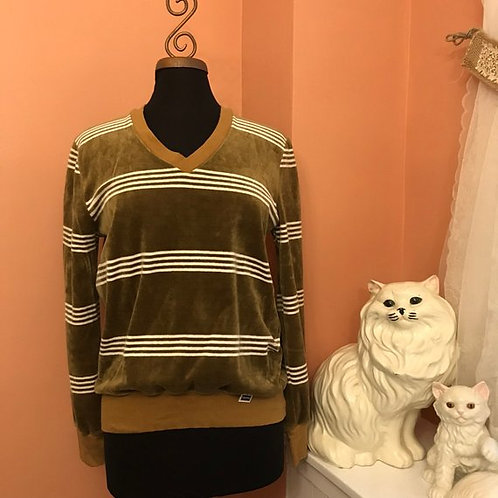 Vintage 90s, V-Neck Sweatshirt, Surfer Stripe, Velour Shirt, Skater Shirt, Mens