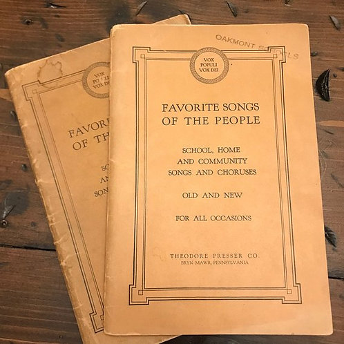 Antique Sheet Music Book, Favorite Songs of the People 1927, Choir Teacher