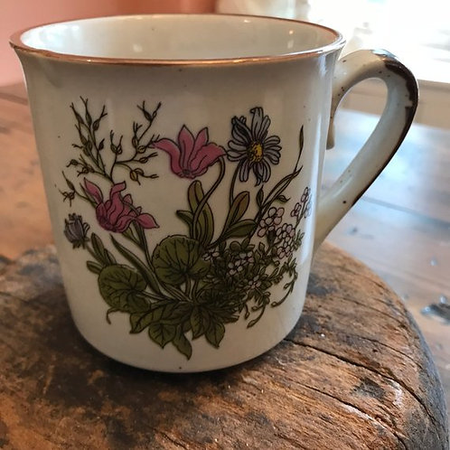 Vintage 70s Mug, Floral Stoneware Coffee Cup, Wildflower Mug, Purple Flowers Mug